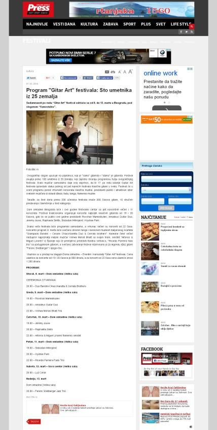 0103 - pressonline.rs - Program Gitar Art festivala- Sto umetnika iz 25 zemalja