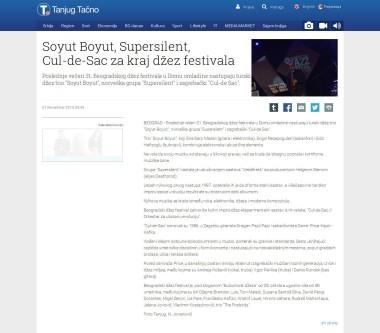 0111 - tanjug.rs - Soyut Boyut, Supersilent, Cul-de-Sac za kraj dzez festivala