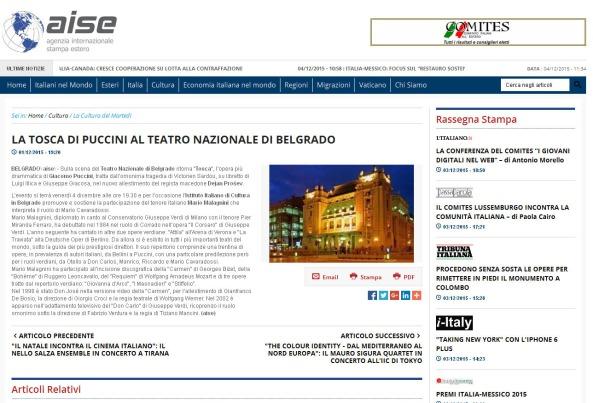 0112 - aise.info - LA TOSCA DI PUCCINI AL TEATRO NAZIONALE DI BELGRADO
