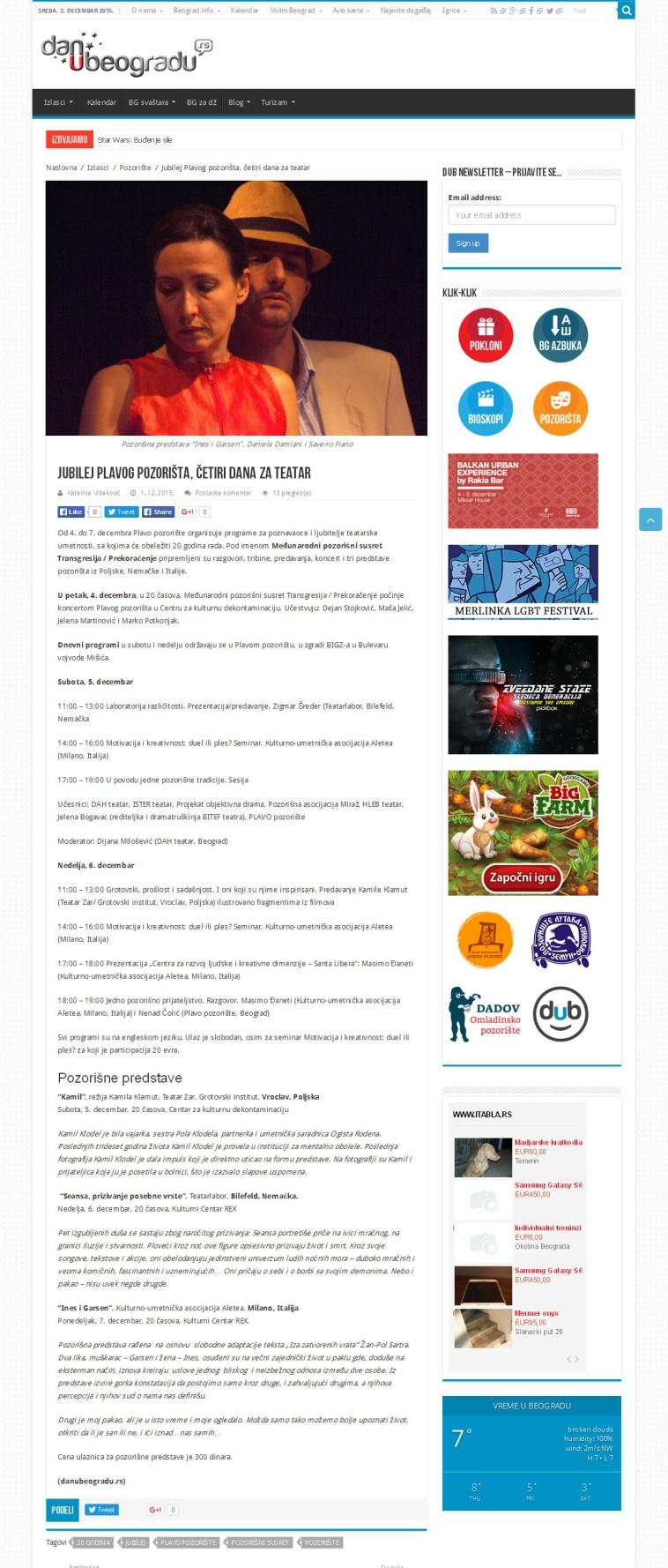 0112 - danubeogradu.rs - Jubilej Plavog pozorista, cetiri dana za teatar