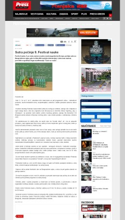 0212 - pressonline.rs - Sutra pocinje 9. Festival nauke
