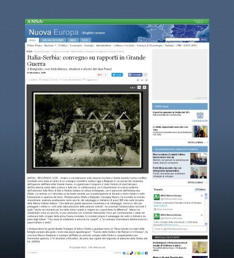 0412 - ansa.it - Italia-Serbia- convegno su rapporti in Grande Guerra