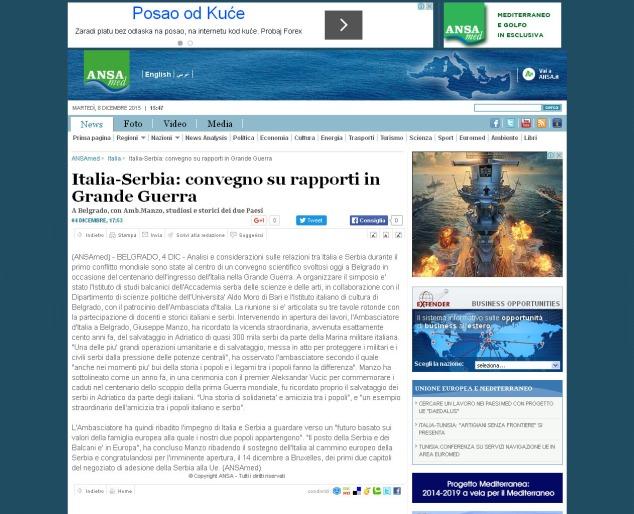0412 - ansamed.info - Italia-Serbia- convegno su rapporti in Grande Guerra