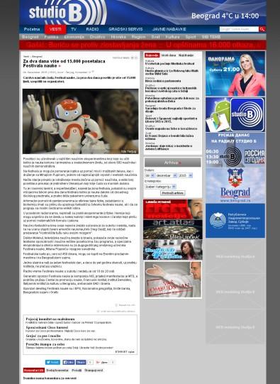0412 - studiob.rs - Za dva dana vise od 15.000 posetalaca Festivala nauke