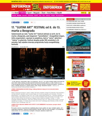 0603 - informer.rs - 17. GUITAR ART FESTIVAL od 8. do 13. marta u Beogradu
