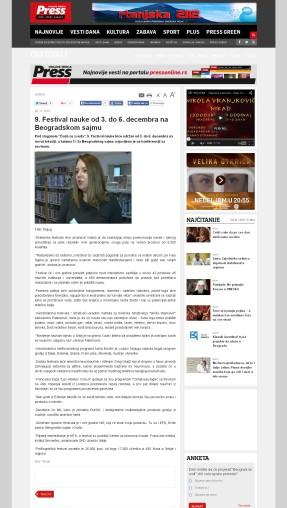 0611 - pressonline.rs - 9. Festival nauke od 3. do 6. decembra na Beogradskom sajmu
