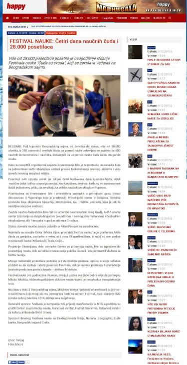 0612 - happytv.rs - FESTIVAL NAUKE- Cetiri dana naucnih cuda i 28.000 posetilaca