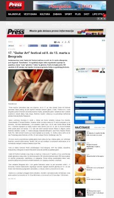 0703 - pressonline.rs - 17. Guitar Art festival od 8. do 13. marta u Beogradu