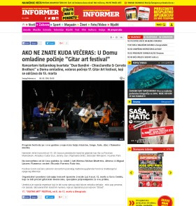 0803 - informer.rs - AKO NE ZNATE KUDA VECERAS- U Domu omladine pocinje Gitar art festival