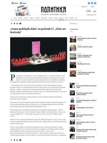 0803 - politika.rs - Osam godisnjih doba za pocetak 17. Gitar art festivala