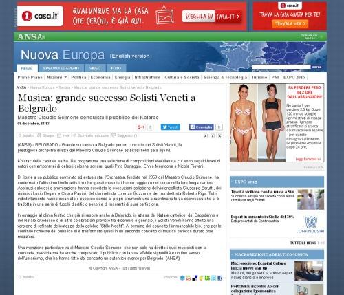 0812 - ansa.it - Musica- grande successo Solisti Veneti a Belgrado