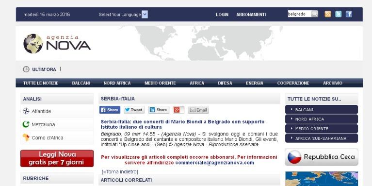 0903 - agenzianova.com - Serbia-Italia- due concerti di Mario Biondi a Belgrado con supporto Istituto italiano di cultura