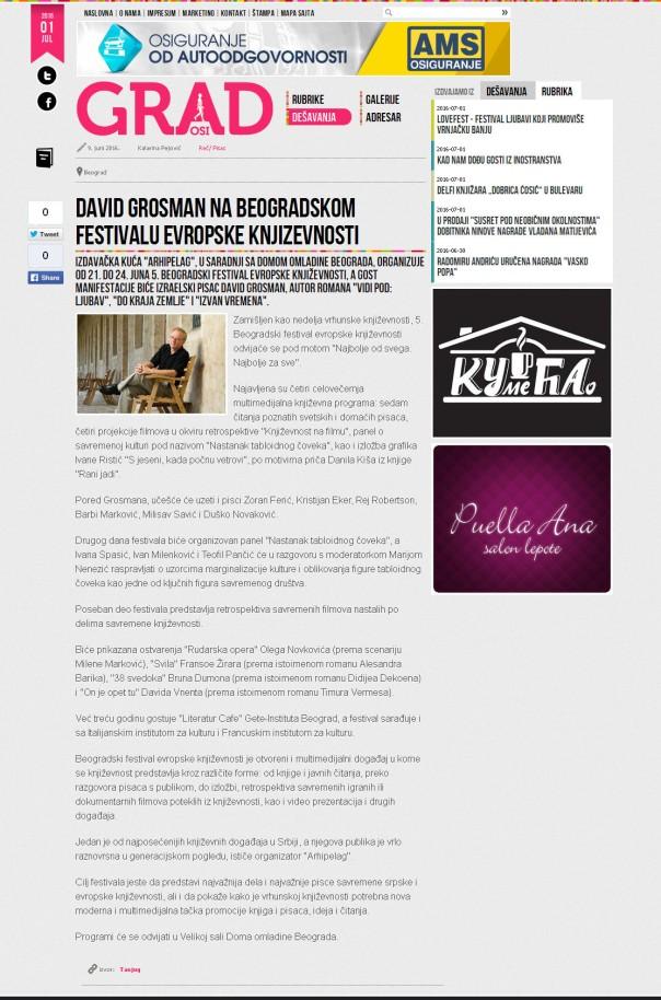 0906 - casopisgrad.com - David Grosman na Beogradskom festivalu evropske knjizevnosti