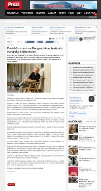 0906 - pressonline.rs - David Grosman na Beogradskom festivalu evropske knjizevnosti
