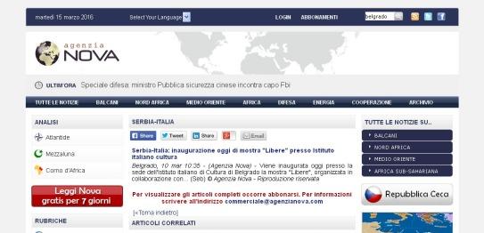 1003 - agenzianova.com - Serbia-Italia- inaugurazione oggi di mostra Libere presso Istituto italiano cultura