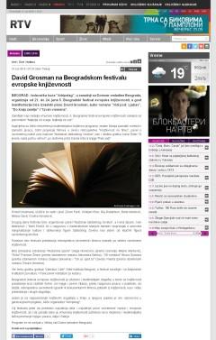 1006 - rtv.rs - David Grosman na Beogradskom festivalu evropske knjizevnosti