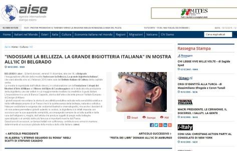 1012 - aise.info - INDOSSARE LA BELLEZZA. LA GRANDE BIGIOTTERIA ITALIANA IN MOSTRA ALL IIC DI BELGRADO