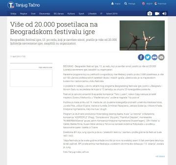 1104 - tanjug.rs - Vise od 20.000 posetilaca na Beogradskom festivalu igre