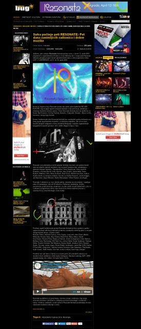 1104 - urbanbug.net - Peti Resonate Festival- Pet dana u dve programske celine CONFERENCE i LIVE