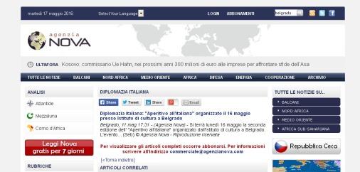 1105 - agenzianova.com - Diplomazia italiana- Aperitivo all italiana organizzato il 16 maggio presso Istituto di cultura a Belgrado