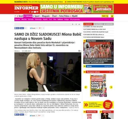 1111 - informer.rs - SAMO ZA DZEZ SLADOKUSCE Miona Babic nastupa u Novom Sadu