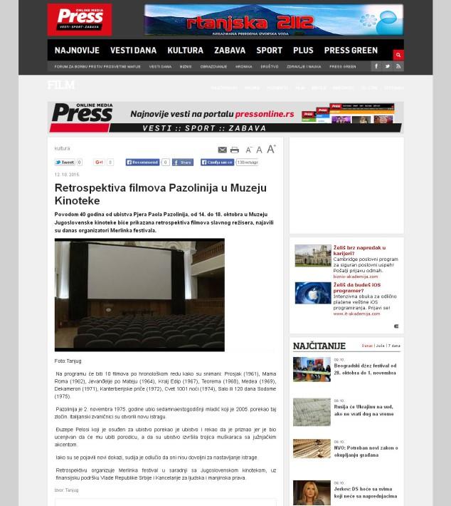 1210 - pressonline.rs - Retrospektiva filmova Pazolinija u Muzeju Kinoteke