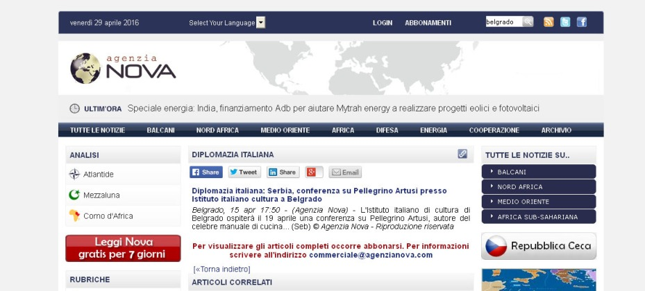 1504 - agenzianova.com -Diplomazia italiana- Serbia, conferenza su Pellegrino Artusi presso Istituto italiano cultura a Belgrado
