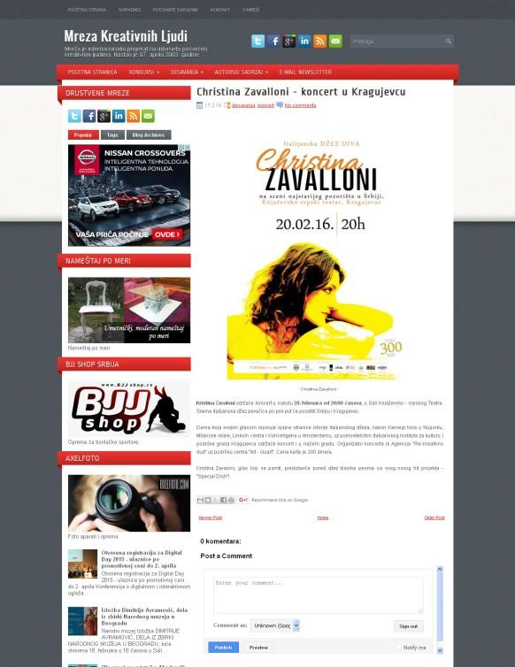 1702 - mrezakreativnihljudi.com - Christina Zavalloni - koncert u Kragujevcu