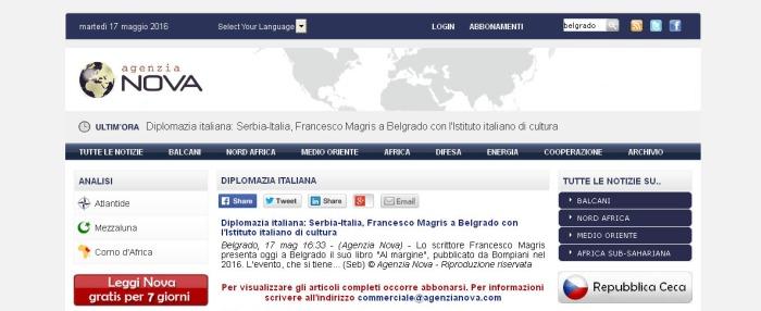 1705 - agenzianova.com - Diplomazia italiana- Serbia-Italia, Francesco Magris a Belgrado con l Istituto italiano di cultura