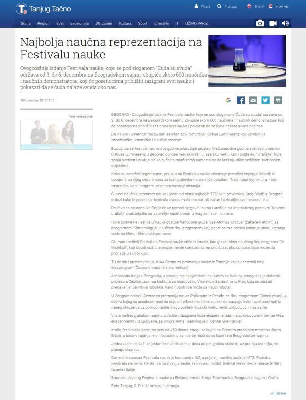 1811 - tanjug.rs - Najbolja naucna reprezentacija na Festivalu nauke