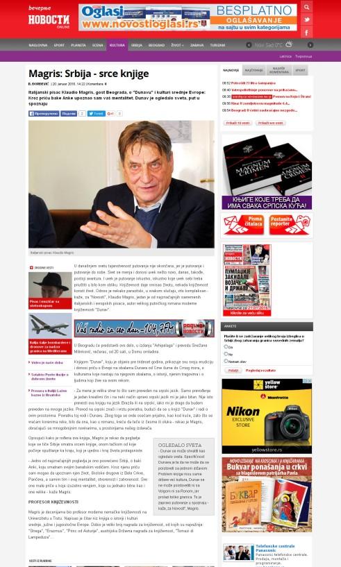 2001 - novosti.rs - Magris- Srbija - srce knjige