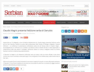 2001 - serbianmonitor.com - Claudio Magris presenta l edizione serba di Danubio