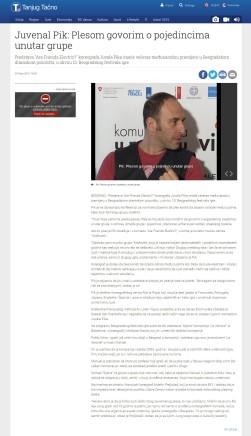 2003 - tanjug.rs - Juvenal Pik- Plesom govorim o pojedincima unutar grupe