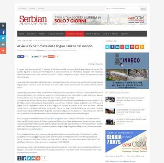 2010 - serbianmonitor.com - Al via la XV Settimana della lingua italiana nel mondo