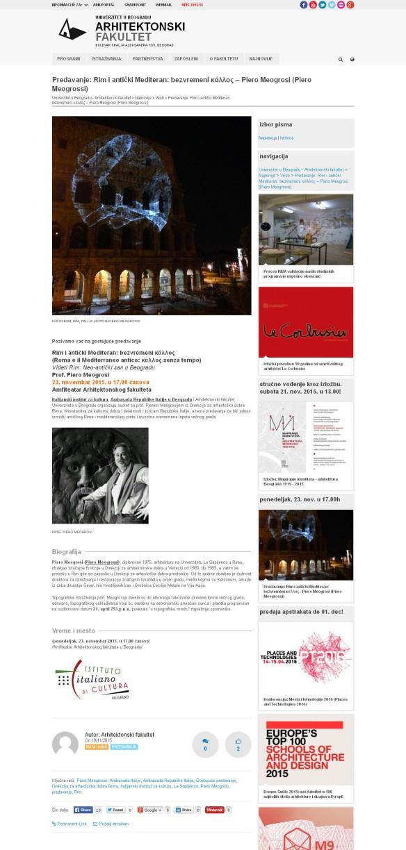 2011 - arh.bg.ac.rs - Predavanje- Rim i anticki Mediteran