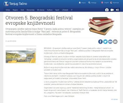 2106 - tanjug.rs - Otvoren 5. Beogradski festival evropske knjizevnosti