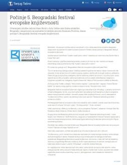 2106 - tanjug.rs - Pocinje 5. Beogradski festival evropske knjizevnosti