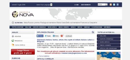 2206 - agenzianova.com - Diplomazia italiana- Serbia, artista Olla ospite di Istituto italiano cultura a Belgrado