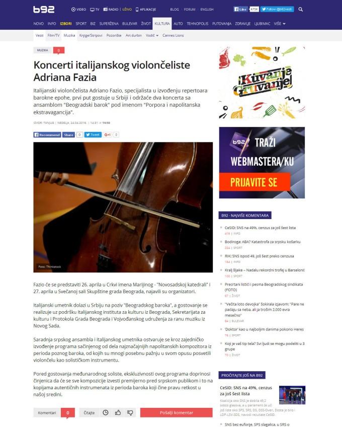 2404 - b92.net - Koncerti italijanskog violonceliste Adriana Fazia