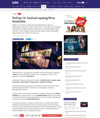 2411 - b92.net - Pocinje 10. Festival srpskog filma fantastike