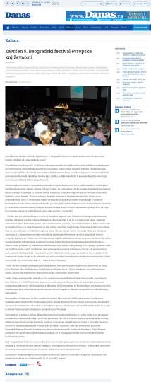 2506 - danas.rs - Zavrzen 5. Beogradski festival evropske knjizevnosti