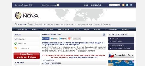 """2605 - agenzianova.com - Diplomazia italiana- """"Luci e storie del design italiano"""" dal 30 maggio al 14 giugno presso Istituto cultura Belgrado"""