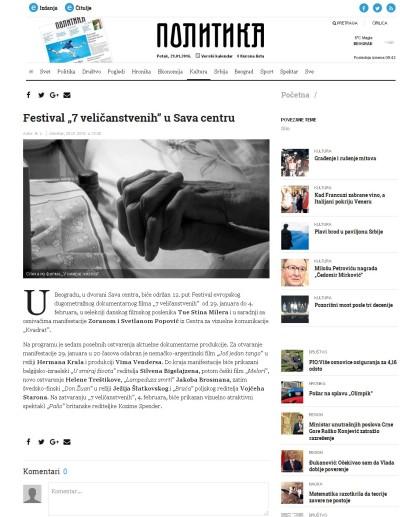 2801 - politika.rs - Festival 7 velicanstvenih u Sava centru