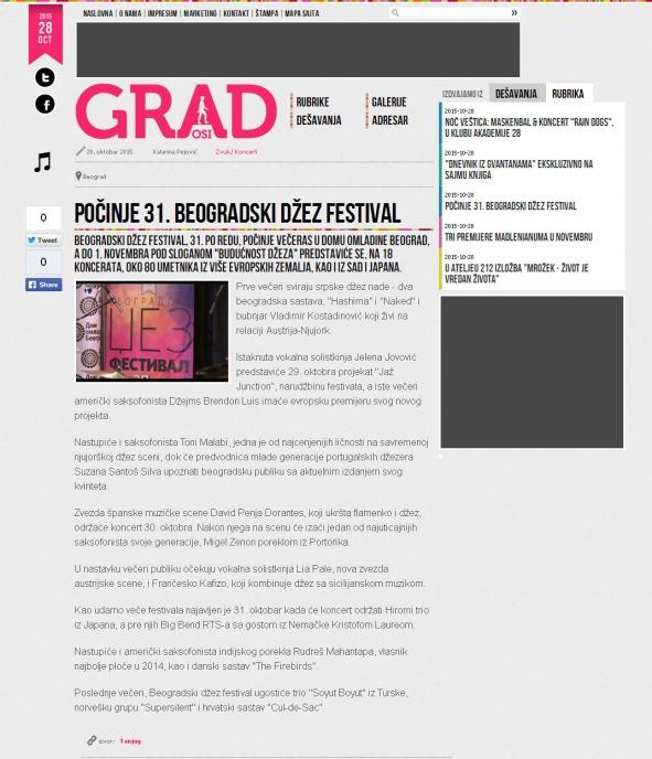 2810 - casopisgrad.com - Pocinje 31. Beogradski dzez festival