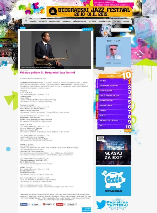2810 - MjuzNews.com - Veceras pocinje 31. Beogradski jazz festival
