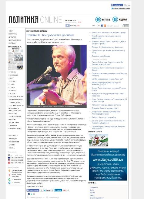 2810 - politika.rs - Pocinje 31. Beogradski dzez festival