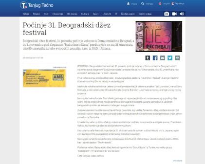 2810 - tanjug.rs - Pocinje 31. Beogradski dzez festival