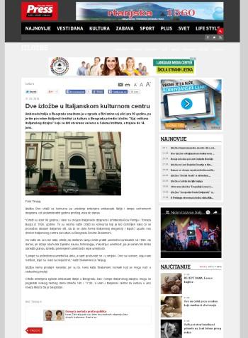 3105 - pressonline.rs - Dve izlozbe u Italjanskom kulturnom centru