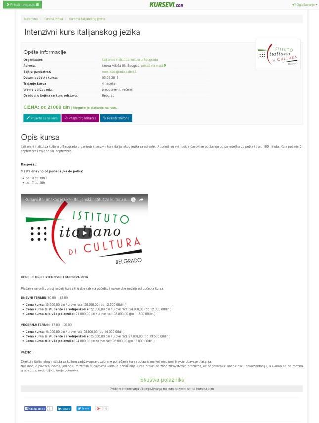 0507 - kursevi.com - Intenzivni kurs italijanskog jezika