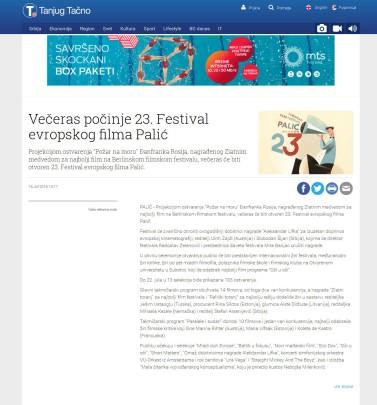 1607 - tanjug.rs - Veceras pocinje 23. Festival evropskog filma Palic
